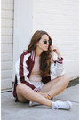 Crimson-vintage-jacket-ivory-levis-shorts-peach-missguided-top