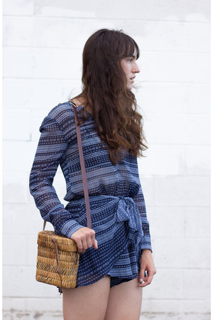 blue The Fifth Label romper - brown vintage bag