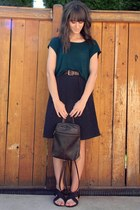green top - dark brown backpack bag - black Wanted sandals