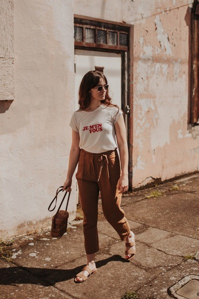 camel vintage bag - burnt orange Marks & Spencer pants