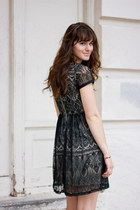 black black lace dress - black free people clogs