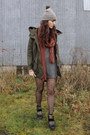Gray-minkpink-dress-army-green-sheinside-coat-olive-green-poler-hat