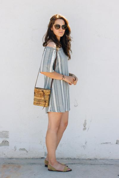 sky blue Zara dress - brown vintage bag - camel Zara flats