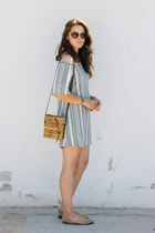 sky blue Zara dress - brown vintage bag - camel Zara flats