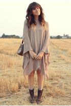 brown vintage boots - dark brown vintage bag - beige knitted cape