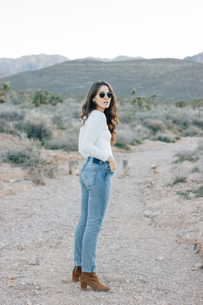 brown free people boots - blue Revice Denim jeans - ivory PYLO top
