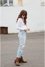 Dark-brown-ariat-boots-sky-blue-levis-jeans-white-american-apparel-bodysuit