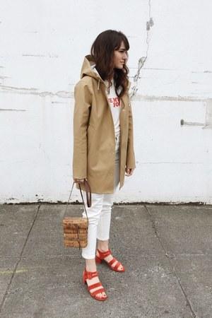 tan Stutterheim coat - red Marais heels