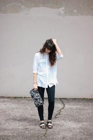 black BDG sandals - white PRIME CUT bag - white blouse - black BDG pants
