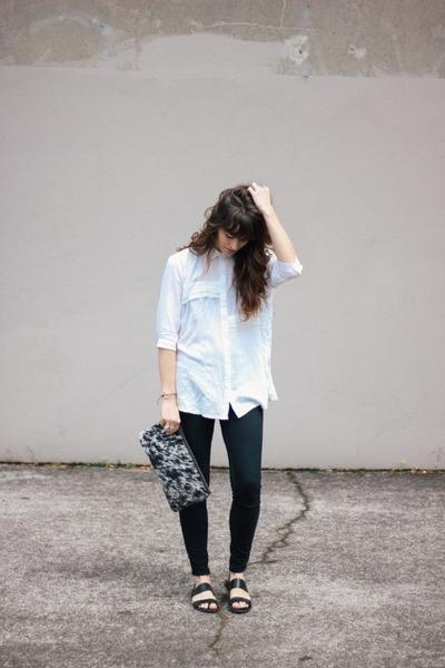 Black Bdg Sandals White Prime Cut Bag Blouse Pants