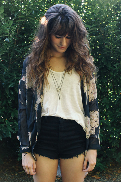 army green coat - black shorts - black floral blouse - gold necklace