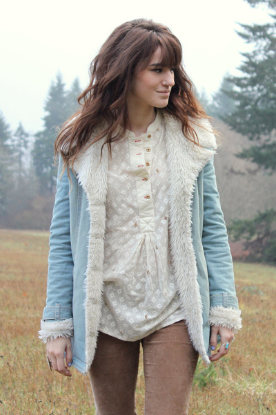 ivory free people blouse - sky blue jean free people coat