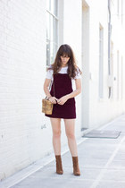 brown free people boots - crimson Topshop dress