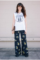 navy floral free people pants - beige vintage bag - white Wildfox top