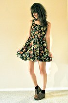 black floral Forever21 dress - dark brown vintage shoes