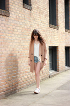 camel Blq Basiq coat - sky blue free people shorts - ivory free people top