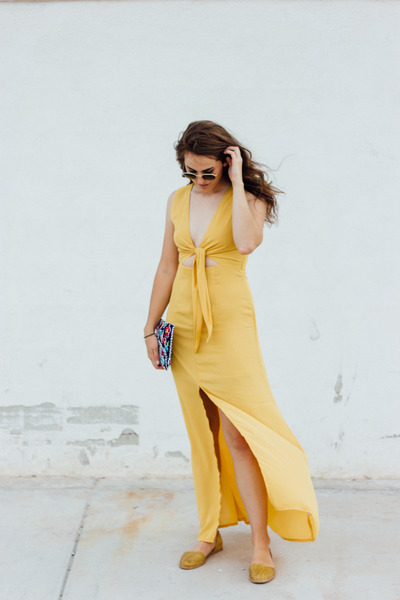gold modcloth dress - navy modcloth bag - mustard modcloth sandals
