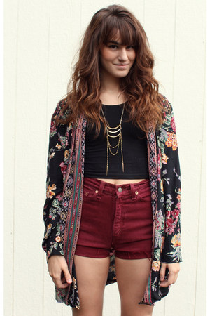 black cropped top - black floral-vintage jacket - maroon vintage Levis shorts
