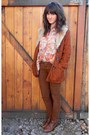 Dark-brown-vintage-shoes-burnt-orange-minkpink-coat-coral-vintage-shirt
