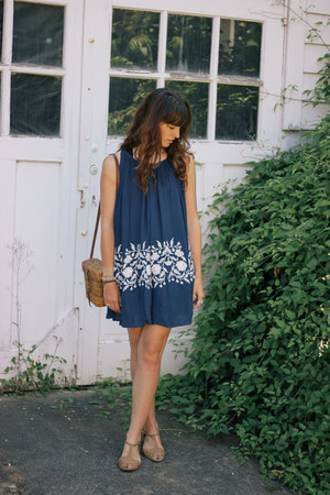 navy dress - brown Topshop flats