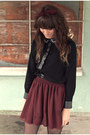 Crimson-american-apparel-skirt-black-polka-dot-romwe-tights
