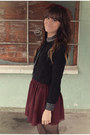 Crimson-american-apparel-skirt-black-polka-dot-romwe-tights