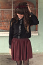 Black-polka-dot-romwe-tights-crimson-american-apparel-skirt