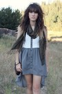 Charcoal-gray-dress-black-curfew-shoes-army-green-scarf