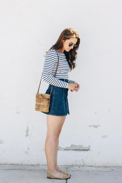white Ivyrevel top - navy AG Jeans skirt - dark khaki Zara sandals