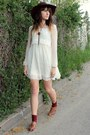 Ivory-dress-crimson-gift-from-bf-hat-brown-sandals