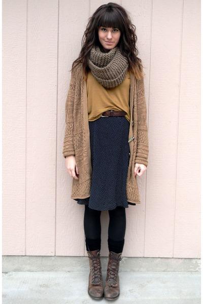 light brown vintage cardigan - dark brown vintage boots - black skirt