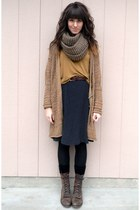 light brown vintage cardigan - dark brown vintage boots - black skirt