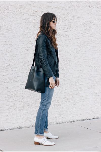 black Bag Inc bag - white Jeffrey Campbell shoes - blue Levis jeans