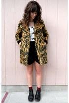 brown vintage coat - black velvet free people skirt