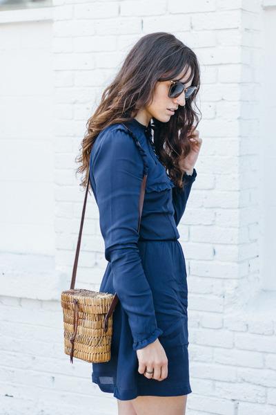 navy Reformation dress - navy Zara shoes - dark brown Miu Miu glasses