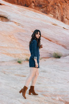 brown free people boots - navy Forever 21 dress