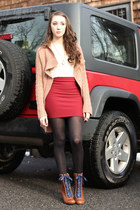 victorian modcloth boots - red Forever 21 skirt - compass Etsy necklace