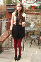 pink modcloth blouse - Jeffrey Campbell boots - black Forever 21 skirt