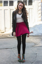 ruby red red H&M skirt - floral DIY boots - ivory lace crop top top