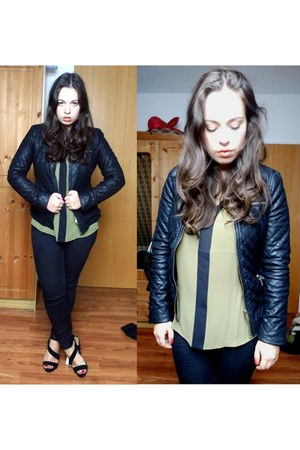 black faux leather Zara Trafaluc jacket - olive green Mango blouse