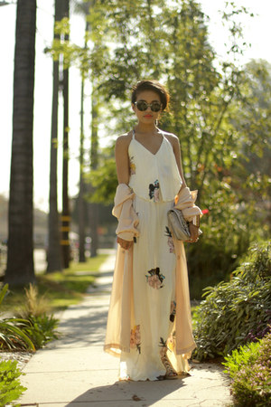 Shona Joy dress - pink chiffon Max & Co coat - sunglasses Super sunglasses