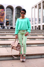 Spearmint-denim-free-people-jeans-mint-sweater-acne-sweater-steve-madden-bag