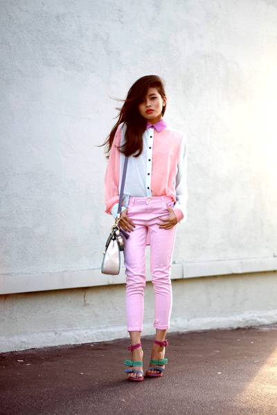 lulus blouse - pink denim Topshop jeans - modern willis coach bag