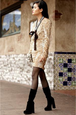 sequin sash Club Monaco necklace - velvet boots Alexander Wang boots