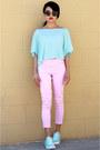 Pink-topshop-jeans-super-sunglasses-converse-sneakers