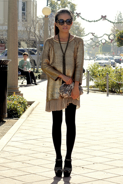 Marni heels - Zara sweater - sequin clutch Club Monaco bag