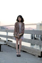 Parker cardigan - free people dress - gray clutch Fossil bag