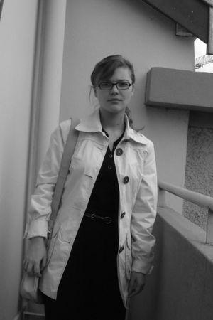 black flo & jo dress - beige C & A jacket - black etam belt - black glasses - bl