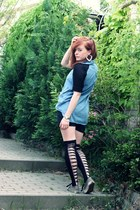 Vans shoes - OASAP shirt - unknown shorts - H&M earrings - OASAP stockings