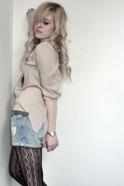 denim pull&bear shorts - lace H&M blouse